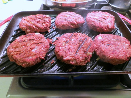 Beetroot burgers cooking