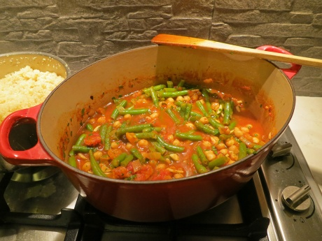 Chickpea and green bean tagine