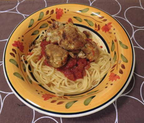 Spaghetti and tofu balls