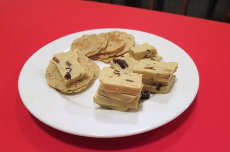 Vegan cashew cheese with kalamata olives