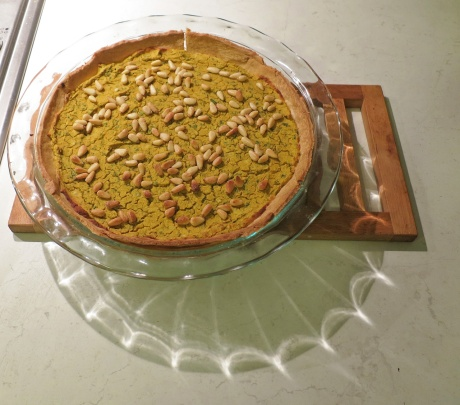 Pumpkin chickpea pie with basil