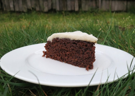 Chocolate cake with macadamia icing