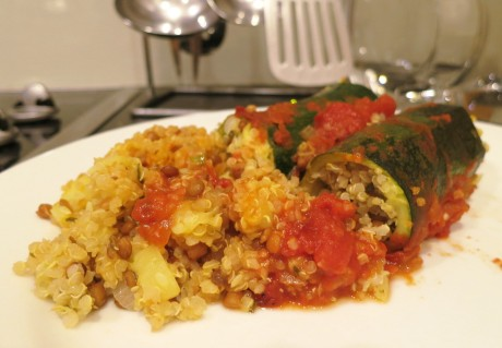 Zucchini stuffed with quinoa and lentils