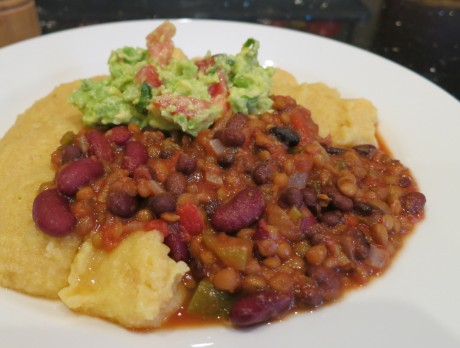 Beany chili with amaranth polenta