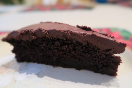 Chocolate cake with gooey ganache